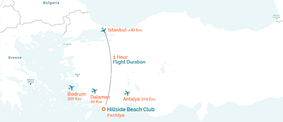 Direct Flights to Hillside Beach Club Map
